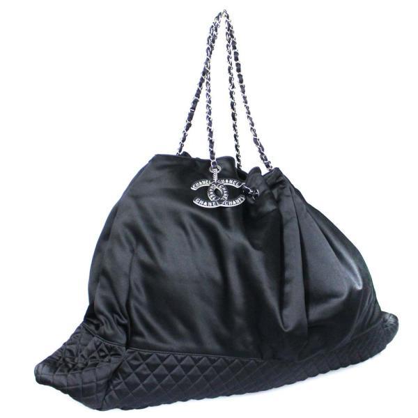 シャネル ココカバス GM 巾着型 チェーン トート シルク ショルダーバッグ レディース サテン ブラック 中古 送料無料 CHANEL