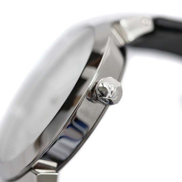 ルイ ヴィトン タンブール モノグラム 腕時計 レディース クオーツ シルバー文字盤 シルバー ブラック Q13MJ 中古 送料無料 LOUIS VUITTON