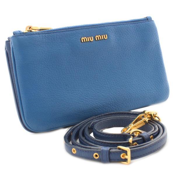 ミュウミュウ ダブルファスナー ショルダーバッグ レディース レザー ライトブルー ブルー 中古 送料無料 MIUMIU
