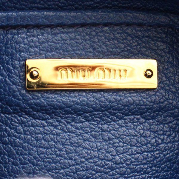 ミュウミュウ ダブルファスナー ショルダーバッグ レディース レザー ライトブルー ブルー 中古 送料無料 MIUMIU|goldeco|12