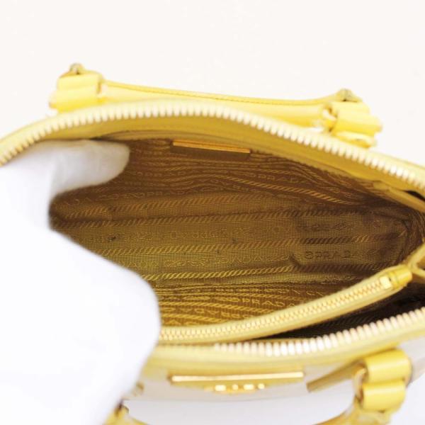 プラダ サフィアーノ 2WAY ハンドバッグ レディース レザー イエロー BL0838 中古 送料無料 PRADA|goldeco|08