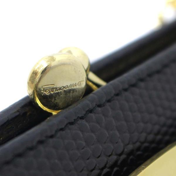 サルヴァトーレフェラガモ ポシェット チェーン ヴァラ ショルダーバッグ レディース 型押しレザー ブラック 22 3054 中古 送料無料 Salvatore Ferragamo