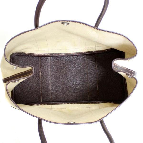 エルメス ガーデンパーティ PM トワルアッシュ  トートバッグ ユニセックス キャンバス レザー ベージュ/ブラウン 中古 送料無料 HERMES