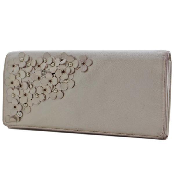 アンテプリマ フラワー 二つ折り 長財布 レディース レザー メタリックカラー ピンク 中古 ANTEPRIMA