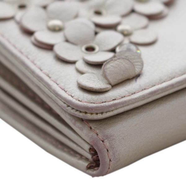 アンテプリマ フラワー 二つ折り 長財布 レディース レザー メタリックカラー ピンク 中古  ANTEPRIMA goldeco 11