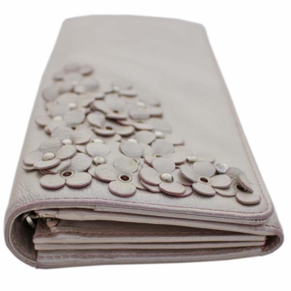 アンテプリマ フラワー 二つ折り 長財布 レディース レザー メタリックカラー ピンク 中古  ANTEPRIMA goldeco 16