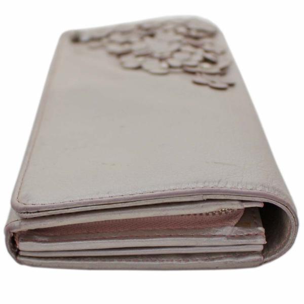 アンテプリマ フラワー 二つ折り 長財布 レディース レザー メタリックカラー ピンク 中古  ANTEPRIMA goldeco 17
