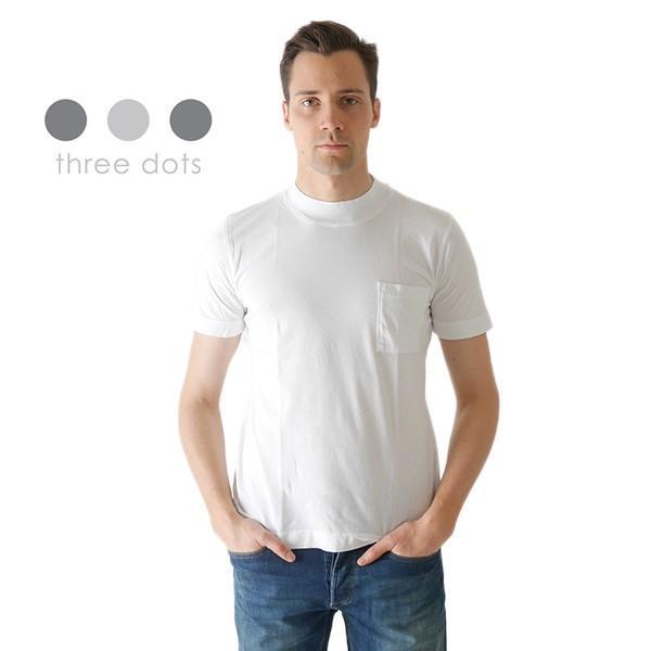 Three Dots スリードッツ モックネック 胸ポケTシャツ S/S mock neck tee BO176MY 半袖Tシャツ 胸ポケット|golden-state