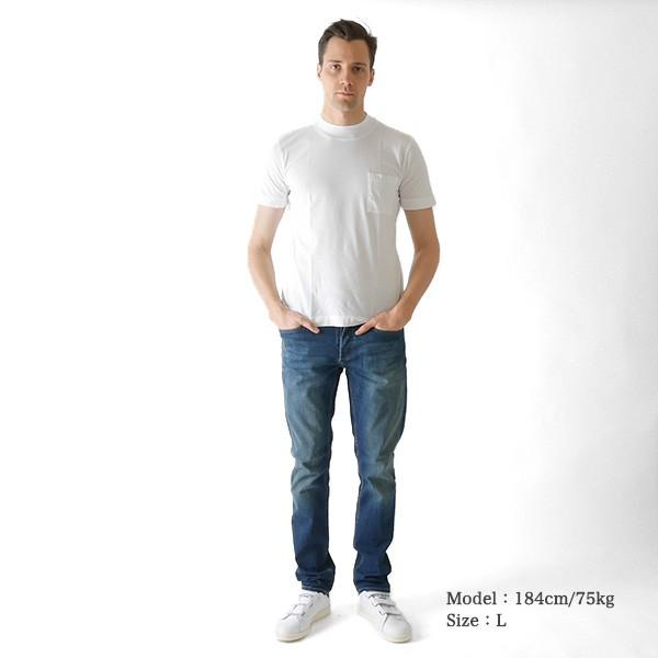 Three Dots スリードッツ モックネック 胸ポケTシャツ S/S mock neck tee BO176MY 半袖Tシャツ 胸ポケット|golden-state|03