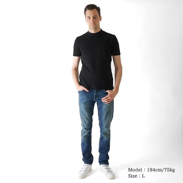 Three Dots スリードッツ モックネック 胸ポケTシャツ S/S mock neck tee BO176MY 半袖Tシャツ 胸ポケット|golden-state|04