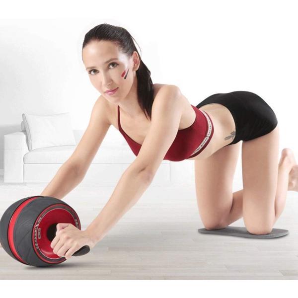 腹筋ローラー 最新強化版エクササイズローラー アブホイール 自動リバウンド式 超静音 腹筋トレ スリムトレーナー 取り付け簡単 膝マット付き|goldriver|06
