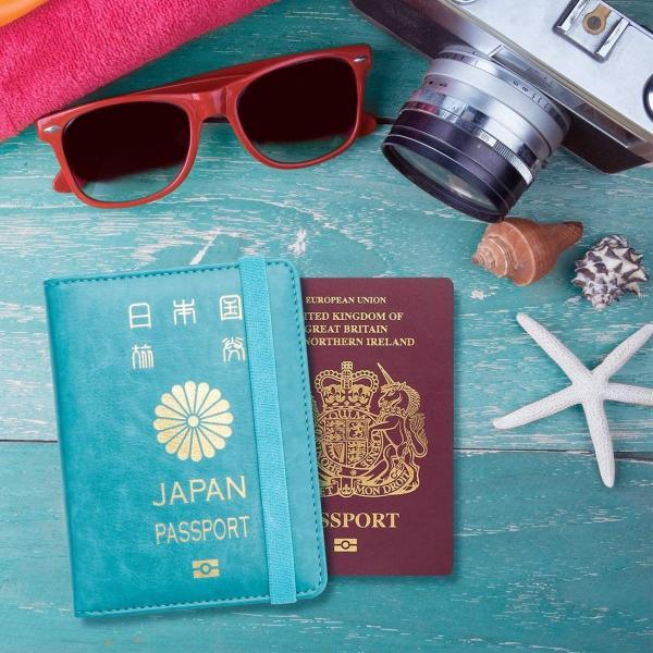 WALNEW RFID パスポートカバー パスポートホルダー パスポートケース スキミング防止 ベルト付き 旅行パスポート 財布 ウォレット goldriver 03