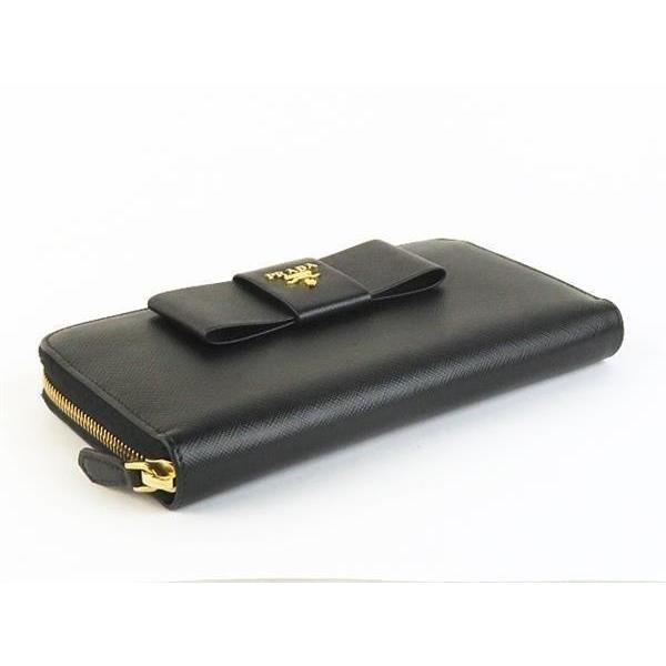 新品同様 PRADA プラダ ラウンドファスナー 長財布 1ML506 リボンモチーフ レザー サフィアーノ ブラック 黒 レディース