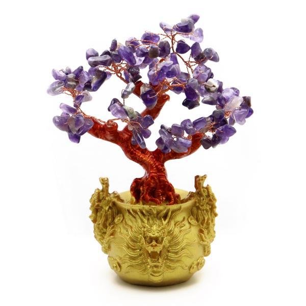 招財樹 壺型 アメジスト 紫水晶 龍 風水置物 インテリア 金運祈願 開運 商売繁盛祈願