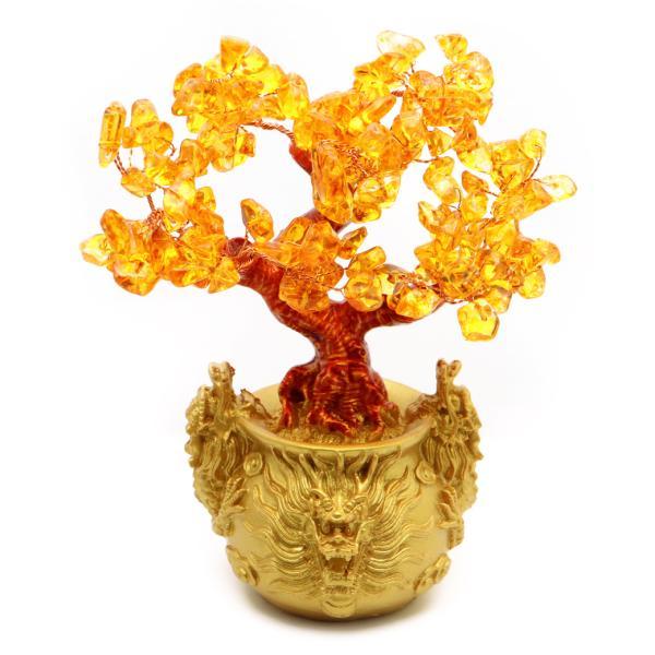 招財樹 壺型 シトリン 黄色水晶 龍 風水置物 インテリア 金運祈願 開運 商売繁盛祈願