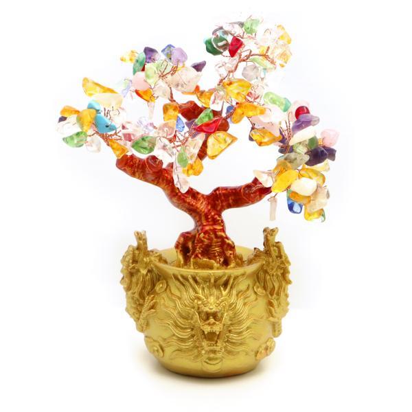 招財樹 壺型 MIX マルチカラー 龍 風水置物 インテリア 金運祈願 開運 商売繁盛祈願