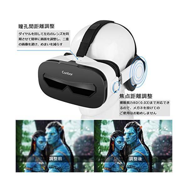Canbor VRゴーグル スマホ用 VRヘッドセット iPhone android 3D VRグラス メガネ 動画 ゲーム 4.0-6.3インチのスマホ対応 golflandshop 02