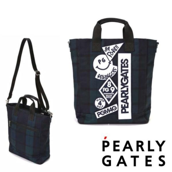 【PREMIUM SALE】PEARLY GATES パーリーゲイツ ブラックウォッチシリーズ デコワッペン BIGトートバッグ ショルダー付き 053-0281100/20D