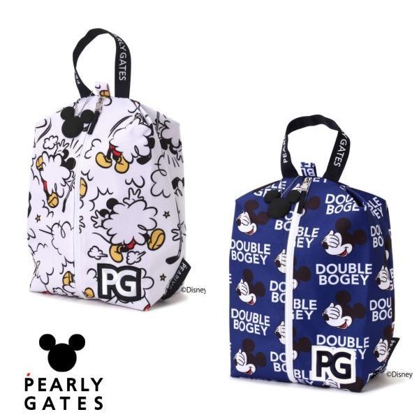 【NEW】PEARLY GATES パーリーゲイツ ミッキーマウス総柄 シューズケース MICKEYシルエットチャーム付 053-1284007/21D<MICKEY SERIES>