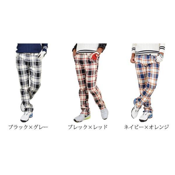 ゴルフウェア メンズ パンツ ゴルフパンツ 大きいサイズ ズボン 裏フリース ストレッチ チェック柄 おしゃれ 秋冬 秋 冬  CG-G150925 |golfwear|02