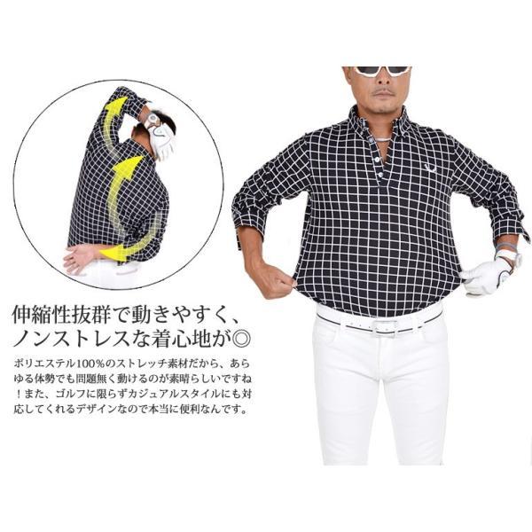 ポロシャツ メンズ ゴルフウェア  長袖  秋 冬ボタンダウン CG-LP543|golfwear|03
