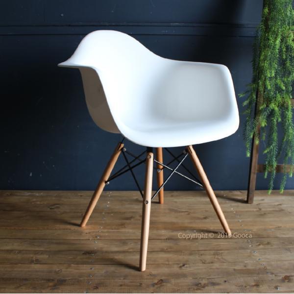 アームチェア ダイニング 椅子 ホワイト おしゃれ 北欧 黒 白 オレンジ シェルチェア DAW|goocafurniture|02