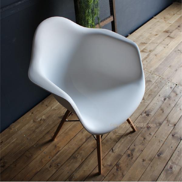 アームチェア ダイニング 椅子 ホワイト おしゃれ 北欧 黒 白 オレンジ シェルチェア DAW|goocafurniture|05
