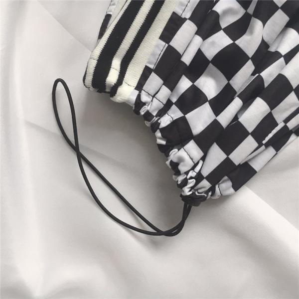 【即日発送商品】ボトムス ワイドパンツ チェッカーフラッグ柄 裾ドローコード付き 2way サイドライン Good Clothes【品質1か月保証付】|good-clothes|05