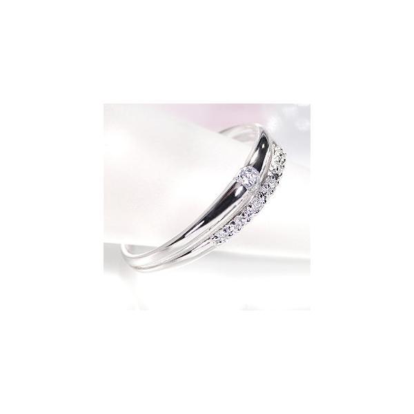 pt900 プラチナ ダイヤモンド ダイヤ 指輪 リング 2連風 0.1ctUP シンプル 重ねづけ風 2連 誕生石 4月 GUR953