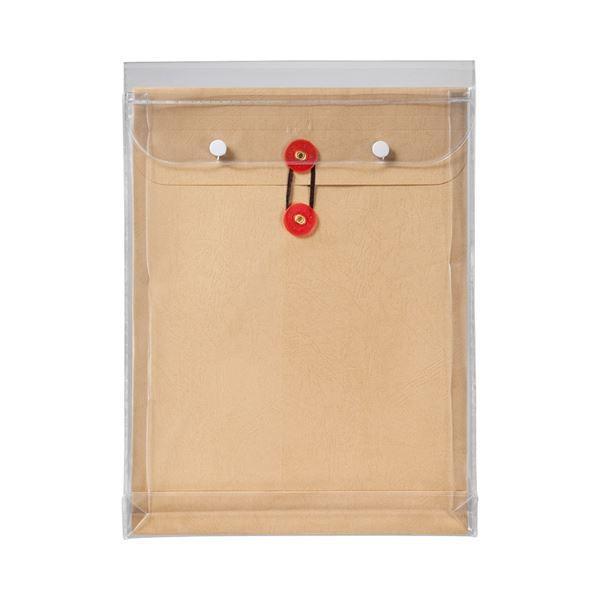 (まとめ) ピース マチヒモ付ビニール保存袋 レザック 角2 184g/m2 茶 業務用パック 912-30 1パック(3枚) 〔×5セット〕