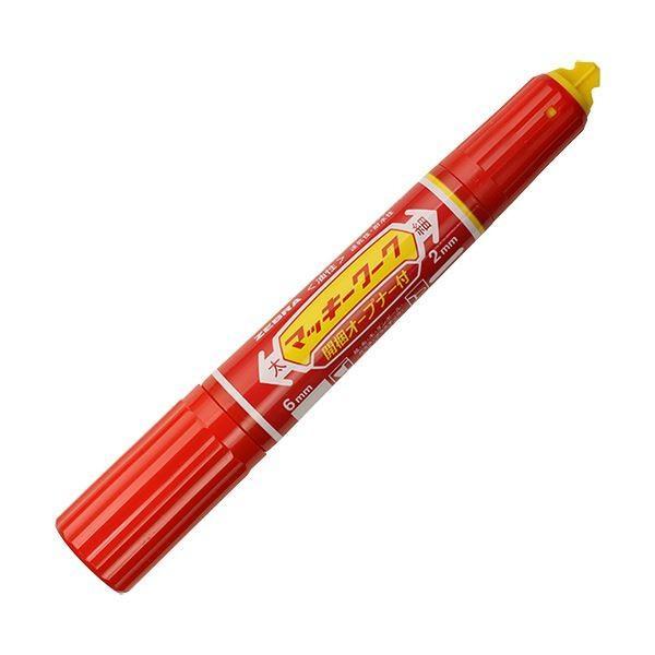 (まとめ) ゼブラ 油性マーカー マッキーワーク角芯太字+丸芯細字 赤 P-YYT21-R 1本 〔×30セット〕