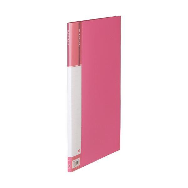 (まとめ)TANOSEEクリヤーファイル(台紙入) A4タテ 10ポケット 背幅11mm ピンク 1セット(10冊) 〔×3セット〕