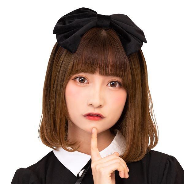 〔コスプレ衣装/コスチューム〕 2WAYベロアリボンカチューシャ 黒