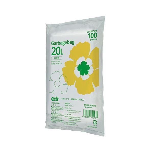 (まとめ)TANOSEE ゴミ袋エコノミー 半透明 20L 1パック(100枚)〔×10セット〕