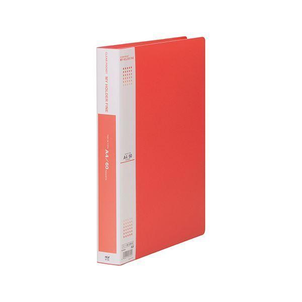 (まとめ) テージー マイホルダーファイン A4タテ型 60ポケット 赤 〔×3セット〕