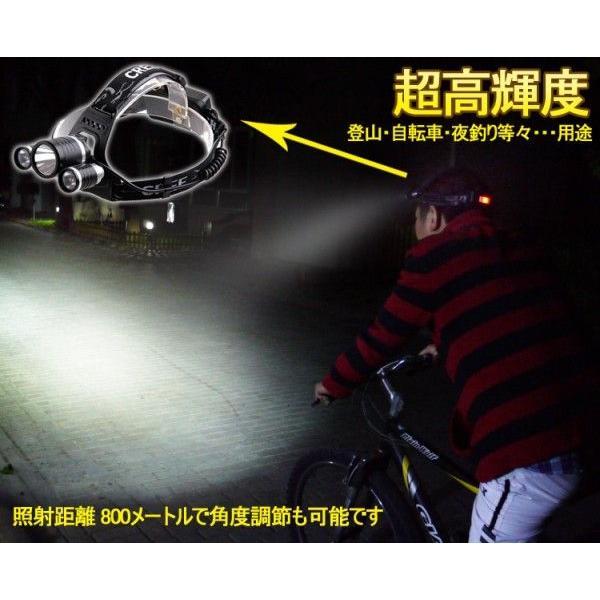 防災 LEDヘッドライト 3灯 4000Lm CREE 夜釣り LEDヘッドランプ 充電式 強力 作業用 アウトドア キャンプ 登山 防災グッズ 一年保証 HL90|goodgoods-2|03