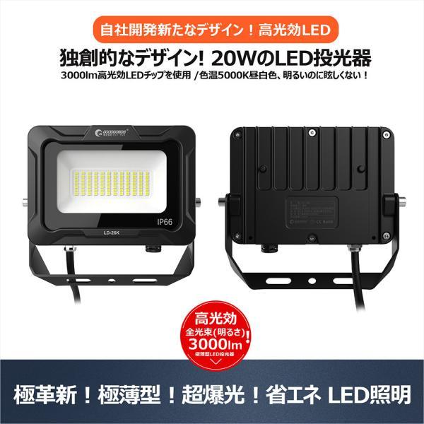 LED投光器 20W 200W相当 薄型 看板灯 看板用スポットライト 作業灯 駐車場灯 広角 防水 屋外照明 一年保証 グッドグッズ LDT-20|goodgoods-2