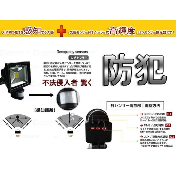 LED投光器 20W 200W相当 センサーライト 防犯 人感 太陽光発電 ソーラーライト 屋外 駐車場 外灯 防災グッズ 一年保証 T-GY20X goodgoods-2 04