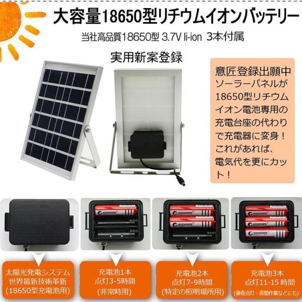 LED投光器 10W 100W相当 太陽光発電 電池交換式 ソーラーライト 18650充電池3本 実用新案登録 駐車場灯 防水 TYH-09|goodgoods-2|05