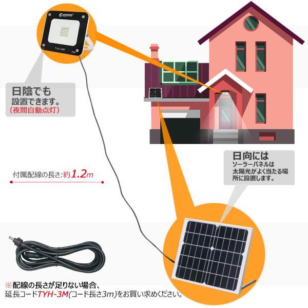 ソーラーライト 屋外 明るい ガーデンライト LED投光器 充電式 20W ソーラー投光器 薄型 電池交換式 昼光色 庭園灯 TYH-16M|goodgoods-2|05