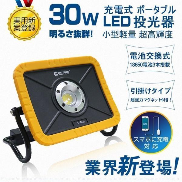 led投光器 30W 3600lm cob 強力マグネット付き ワークライト iPhoneに充電可 YC-05W 意匠権登録・実用新案登録 goodgoods-2