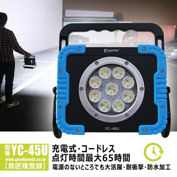LED投光器 45W 充電式 投光器 作業灯 集光型 LEDライト 充電式 ワークライト コードレス マグネット付 屋外 アウトドア 工場現場 YC-45U|goodgoods-2|02