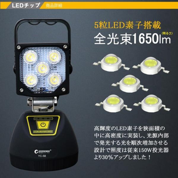LED作業灯 充電式 LED投光器 15W  ポータブル投光器 マグネット USBポート付き 4モード 角度調整可能 応急ライト 防災用品 YC-5B|goodgoods-2|02