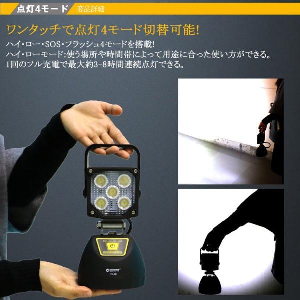 LED作業灯 充電式 LED投光器 15W  ポータブル投光器 マグネット USBポート付き 4モード 角度調整可能 応急ライト 防災用品 YC-5B|goodgoods-2|05