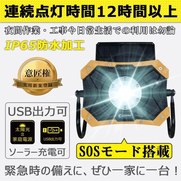 LED投光器 ソーラーライト 充電式 20W 折り畳み式 ポータブル 作業灯 マグネット付き 夜間照明  防災グッズ アウトドア YC-N7B|goodgoods-2|03