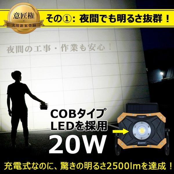 LED投光器 ソーラーライト 充電式 20W 折り畳み式 ポータブル 作業灯 マグネット付き 夜間照明  防災グッズ アウトドア YC-N7B|goodgoods-2|04