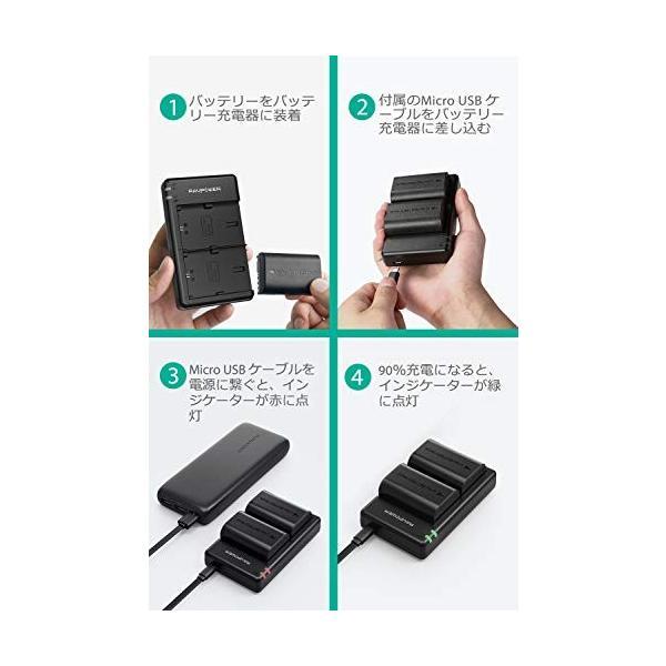 RAVPower バッテリーパック キャノン LP-E6 LP-E6N 互換バッテリー 2個 + 充電器 セット (大容量 2000mAh USB 急|goodjob-syoukai|06