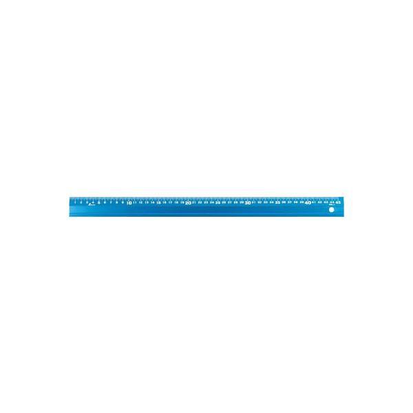 【代引不可】 シンワ アルミ直尺 アル助45cm シャイニングブルー 【65423】