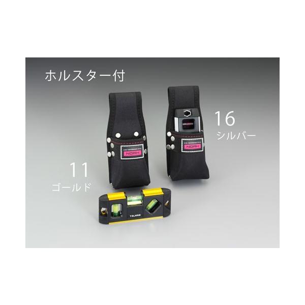 ESCO130mm マグネット付レベル(ホルダー付/ゴールド)[EA721TA-11]