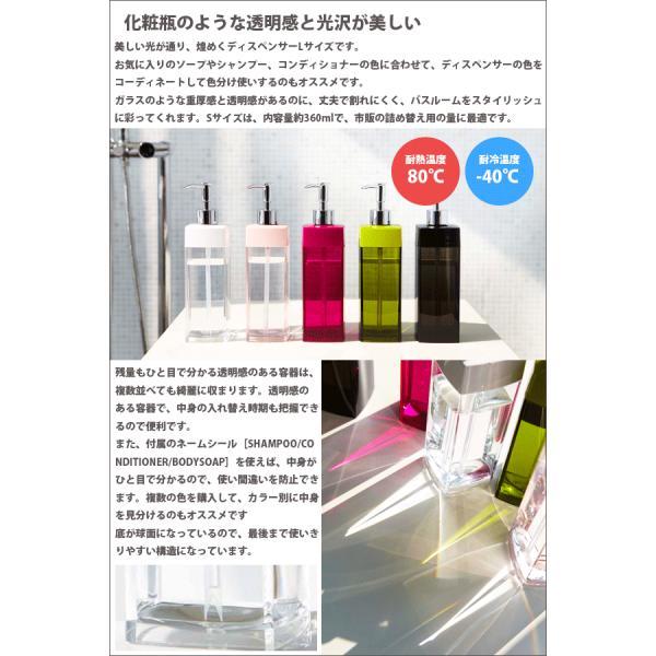 キャッシュレス還元対象 化粧瓶のような透明感と光沢が美しい アクリル製 ソープディスペンサー Sサイズ 360ml 詰め替え用 クリア ボトル ルクス 全3種|goodlifeshop|02